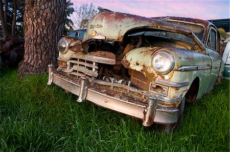 Close up of vintage car in scrap yard Stock Photo - Premium Royalty-Free, Code: 649-07437392