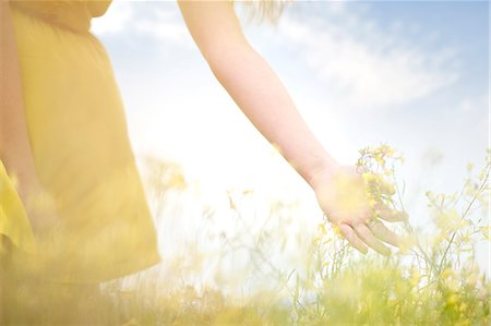 Girl touching flowers on meadow Stock Photo - Premium Royalty-Free, Code: 649-07437432