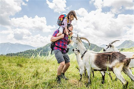 Man carrying daughter, looking at goats Stock Photo - Premium Royalty-Free, Code: 649-07437538