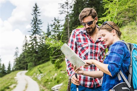 female hiking - Couple with map, Tyrol, Austria Stock Photo - Premium Royalty-Free, Code: 649-07437611