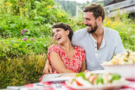 Young couple having picnic lunch, Tyrol, Austria Stock Photo - Premium Royalty-Free, Code: 649-07437626