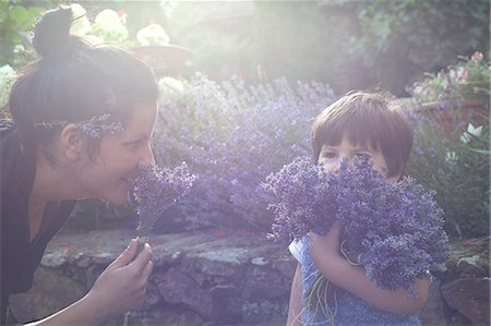 family  fun  outside - Mother and toddler son smelling bunch of lavender Stock Photo - Premium Royalty-Free, Code: 649-07437844