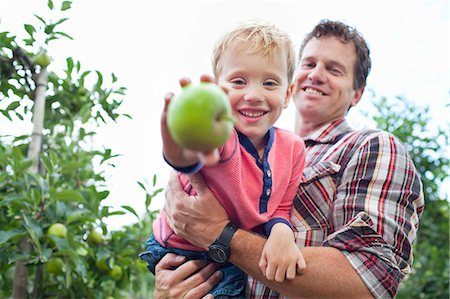 family apple orchard - Farmer and son picking apples from tree in orchard Stock Photo - Premium Royalty-Free, Code: 649-07437983
