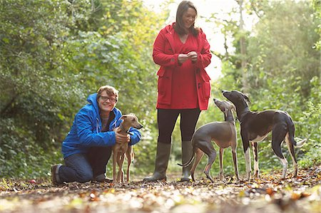 Young couple and three whippets in forest Stock Photo - Premium Royalty-Free, Code: 649-07520895