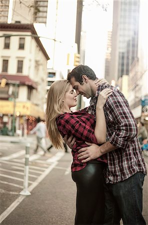 Romantic young couple hugging on street, New York City, USA Stock Photo - Premium Royalty-Free, Code: 649-07560001