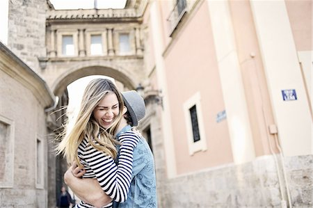 people and vacation - Romantic young couple hugging, Valencia, Spain Stock Photo - Premium Royalty-Free, Code: 649-07560102