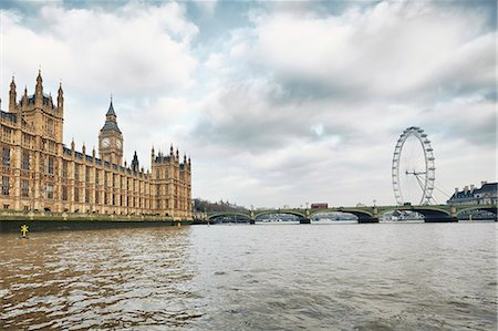 View of the London Eye and the Houses of Parliament, London, UK Fotografie stock - Premium Royalty-Free, Codice: 649-07560250
