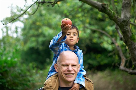 family apple orchard - Male toddler holding an apple and sitting on fathers shoulders Stock Photo - Premium Royalty-Free, Code: 649-07560358