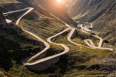 View of old road to Gotthard Pass, Switzerland Stock Photo - Premium Royalty-Free, Code: 649-07596464
