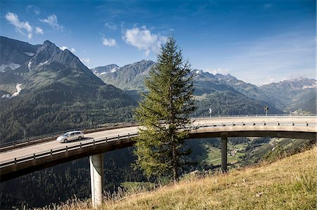 remote car - Car on elevated highway to Gotthard Pass, Switzerland Stock Photo - Premium Royalty-Free, Code: 649-07596462