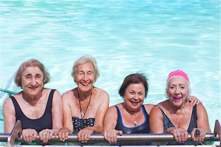 Portrait of four senior women in swimming pool Stock Photo - Premium Royalty-Free, Code: 649-07596669