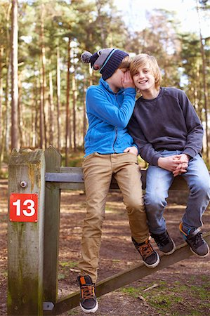 Twin brothers sitting and whispering on gate in forest Stock Photo - Premium Royalty-Free, Code: 649-07596720