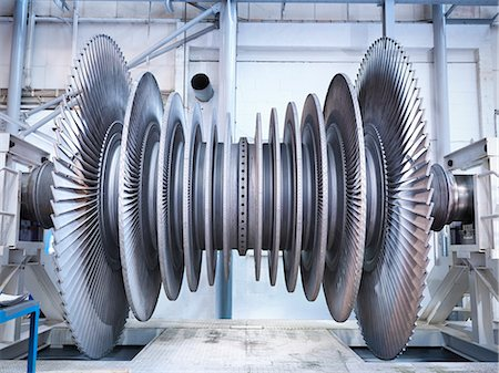 Side view of low pressure steam turbine in repair bay Stock Photo - Premium Royalty-Free, Code: 649-07596741