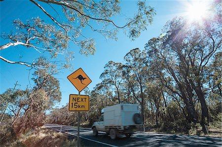 Kangaroo warning roadsign, New South Wales, Australia Stock Photo - Premium Royalty-Free, Code: 649-07648228