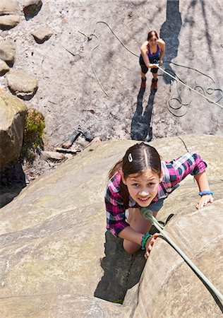 High angle view of girl rock climbing Stock Photo - Premium Royalty-Free, Code: 649-07648235