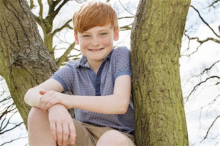Portrait of boy sitting in tree Stock Photo - Premium Royalty-Free, Code: 649-07648249