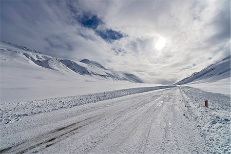 snow - Snow covered road, Oxnadalsheidi, North Iceland Stock Photo - Premium Royalty-Free, Code: 649-07648269