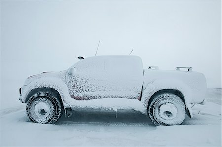 Pick up truck covered in snow, Einarsstadir, North Iceland Stock Photo - Premium Royalty-Free, Code: 649-07648262