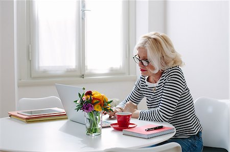 single mature people - Mature woman at home using laptop Stock Photo - Premium Royalty-Free, Code: 649-07648528