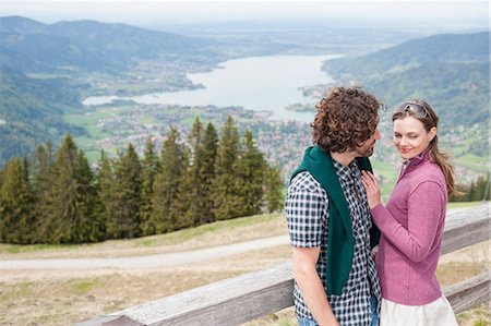 Mid adult couple and scenic view, Wallberg, Tegernsee, Bavaria, Germany Stock Photo - Premium Royalty-Free, Code: 649-07710101