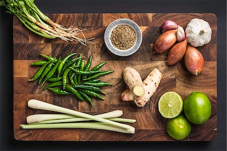 spicy - Ingredients for making green curry paste Stock Photo - Premium Royalty-Free, Code: 649-07710497