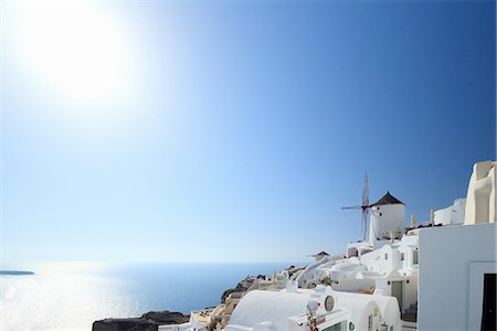 View of Oia town and windmill, Santorini, Cyclades Islands, Greece Stock Photo - Premium Royalty-Free, Code: 649-07710648