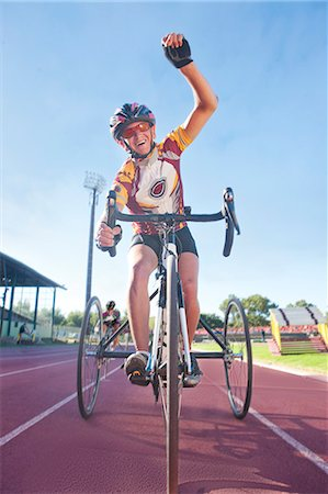finish line - Cyclist at finishing line in para-athletic competition Stock Photo - Premium Royalty-Free, Code: 649-07736745