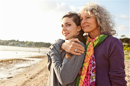 family active beach - Mother and daughter enjoying beach Stock Photo - Premium Royalty-Free, Code: 649-07760818