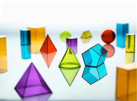 rectangle - Large group of various multi colored geometric shapes Stock Photo - Premium Royalty-Free, Code: 649-07905556