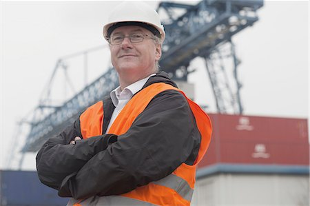 Portrait of dock worker at port Stock Photo - Premium Royalty-Free, Code: 649-08060222