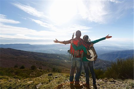 female hiking - Hikers enjoying view from hilltop, Montseny, Barcelona, Catalonia, Spain Stock Photo - Premium Royalty-Free, Code: 649-08060462