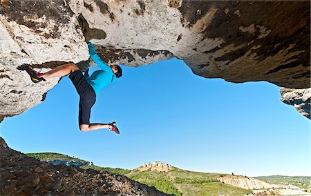 Female climber, climbing up the Grande Arche, les Calanques, Route de Crete, Bouches-du-Rhone, France Stock Photo - Premium Royalty-Free, Code: 649-08060591
