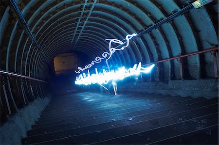 Light trails in tunnel Stock Photo - Premium Royalty-Free, Code: 649-08060844