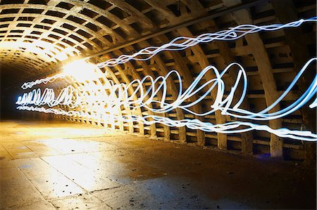 Light trails in tunnel Stock Photo - Premium Royalty-Free, Code: 649-08060846