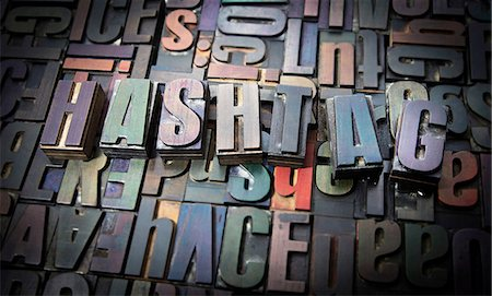 Letterpress letters spelling the word Hashtag Stock Photo - Premium Royalty-Free, Code: 649-08085610