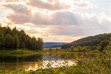 forest - View of sunbeams over river landscape, Sarsy village, Sverdlovsk Region, Russia Stock Photo - Premium Royalty-Free, Code: 649-08085806