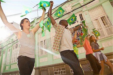 soccer fan - Students celebrating with Brazilian flags in the street, Rio de Janeiro, Brazil Stock Photo - Premium Royalty-Free, Code: 649-08086537