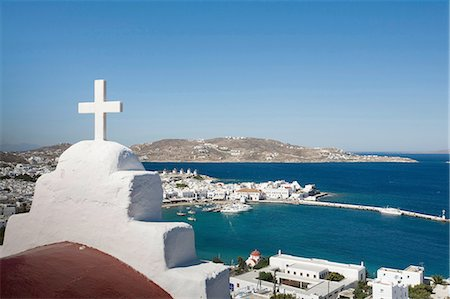 View of church roof and sea, Mykonos, Cyclades, Greece Stock Photo - Premium Royalty-Free, Code: 649-08086761