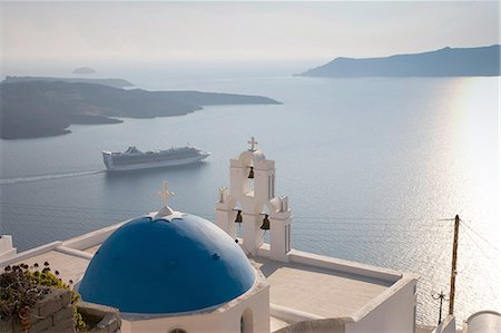 View of church and car ferry, Oia, Santorini, Cyclades, Greece Stock Photo - Premium Royalty-Free, Code: 649-08086763