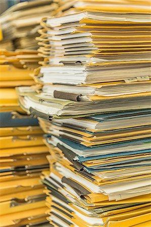 piles of work - Stacks of paper files Stock Photo - Premium Royalty-Free, Code: 649-08118193