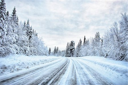 snow - View of snow covered forest highway, Hemavan, Sweden Stock Photo - Premium Royalty-Free, Code: 649-08125338