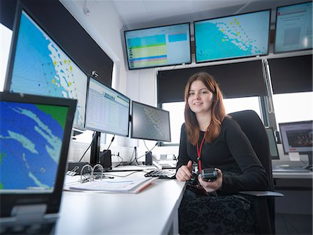 Portrait of operator in offshore windfarm control room Stock Photo - Premium Royalty-Free, Code: 649-08125533