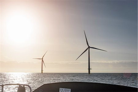 View of offshore windfarm from service boat at sea Stock Photo - Premium Royalty-Free, Code: 649-08145106