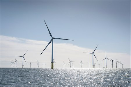 View of offshore windfarm from service boat at sea Stock Photo - Premium Royalty-Free, Code: 649-08145107