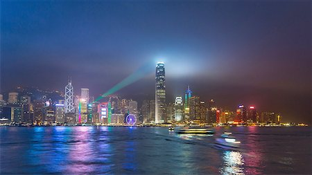 Central Hong Kong skyline and Victoria harbor at night, Hong Kong, China Stock Photo - Premium Royalty-Free, Code: 649-08145403