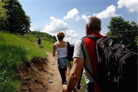 fitness   mature woman - Rear view of three mature hikers hiking up path Stock Photo - Premium Royalty-Free, Code: 649-08145605