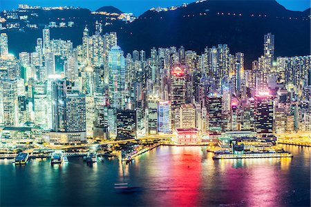 Hong Kong island and skyline, illuminated at night, Hong Kong, China Stock Photo - Premium Royalty-Free, Code: 649-08180331