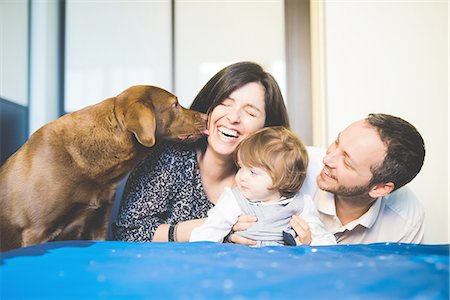 Mid adult couple laughing with toddler daughter and pet dog Stock Photo - Premium Royalty-Free, Code: 649-08238410