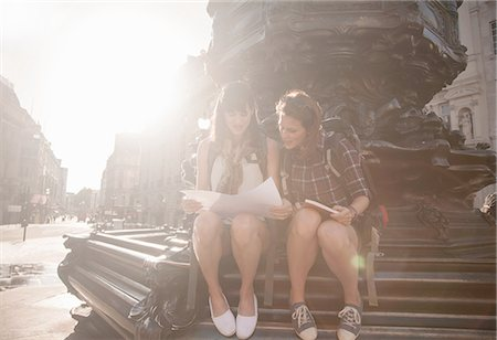 Two women backpackers sitting on steps looking at map and guide book, Picadilly Circus, London, UK Stock Photo - Premium Royalty-Free, Code: 649-08238737