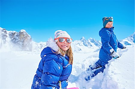 dark glasses - Siblings playing in snow, Chamonix, France Stock Photo - Premium Royalty-Free, Code: 649-08232463